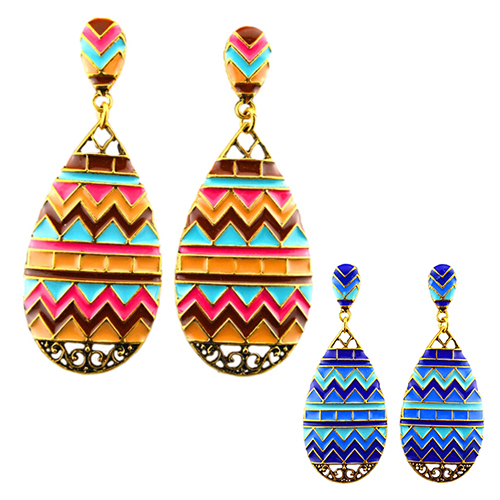 Retro Trendy Wave Color Blocking Jewelry Accessories Water Drop Ethic Earrings for women 5UEW 6T1O 7HOB