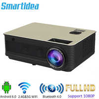 SmartIdea LED 5000lumens Full HD 3D Cinema Projector home theater Proyector Video Game Beamer Android6.0 wifi Bluetooth option
