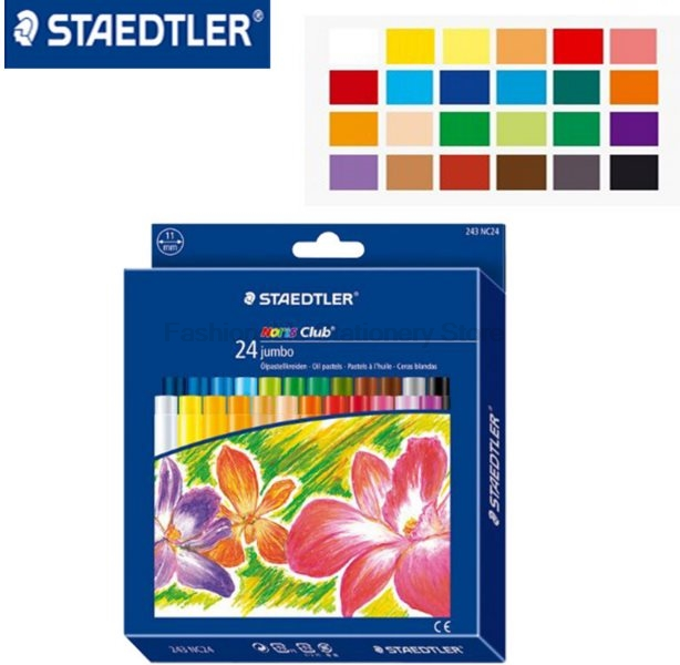 STAEDTLER 243 NC24 11mm 24 color Oil painting sticks Soft Crayon for Children Artist Art School Supplies Colored Pencils set 18k rose gold plated rhinestone awesome swan stud earrings golden pair