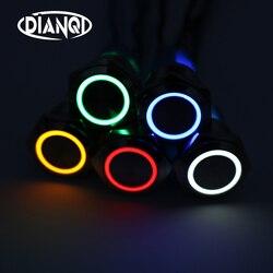 16mm Metall Ringförmigen Push Button Schalter Ring LED 5-380 V 12 V 6 V Selbst-lock momentary Rast Wasserdichte Auto Auto Motor