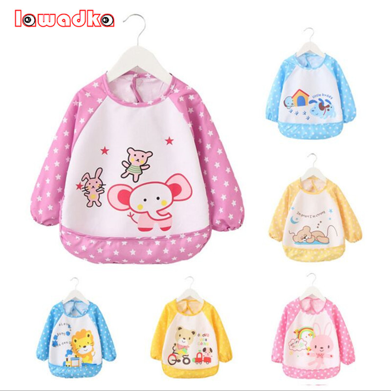 Baby Bib Long Sleeve Waterproof Feeding Baby Bibs For Lunch Baberos Bebes Cartoon Baby Clothing Baby Bibs Waterproof 0-3 Years