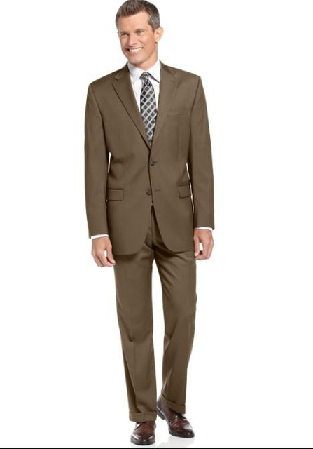 New Arrival Center Vent Groom Tuxedos Notch Lapel Men S Suit Brown Groomsman Father Of The Bride