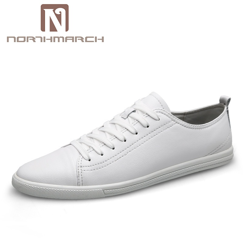 NORTHMARCH Fashion Brand Leather Men Shoes Flats Soft Leather Men Male Moccasins Breathable Lace-Up Mens Shoes Casual Human Race northmarch brand new shoes men casual sneakers men fashion breathable designer shoes lace up flats man shoes zapatillas hombre