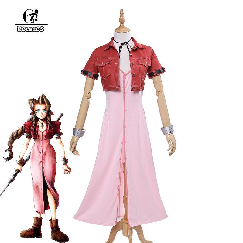 ROLECOS Brand New Japanese Game Final Fantasy VII 7 Cosplay Costumes Aerith Aeris Gainsborough Cosplay Costumes Pink Dress