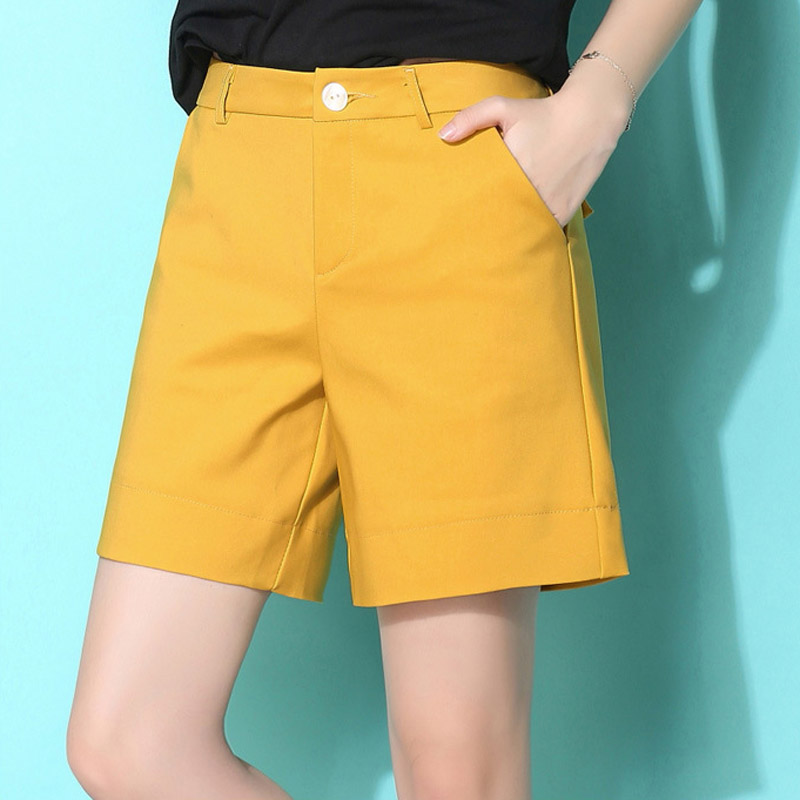 Large Size XXXXXL Woman Shorts Office Lady High Waist White Shorts Cotton Button Fly Korean Shorts For Woman Black Ginger