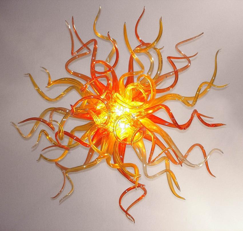 Edison Lâmpadas moderna Sala de estar Acende Cor Dourada Hand Blown Lustres De Vidro