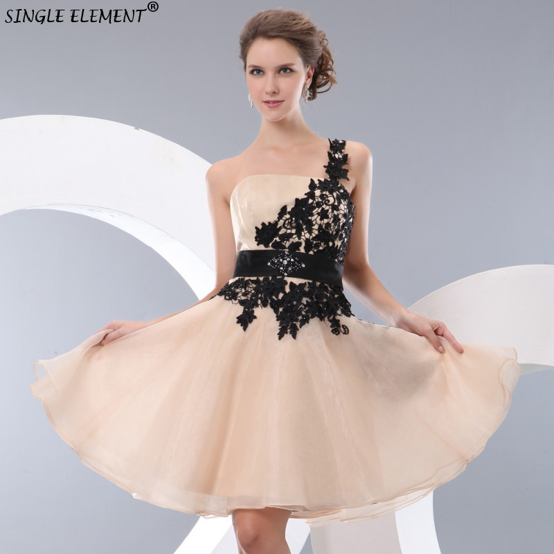 SINGLE ELEMENT Real Photo One Shoulder Lace Junior Bridesmaid Dresses