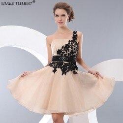 SINGLE ELEMENT Real Photo One Shoulder Lace Junior Bridesmaid Dresses