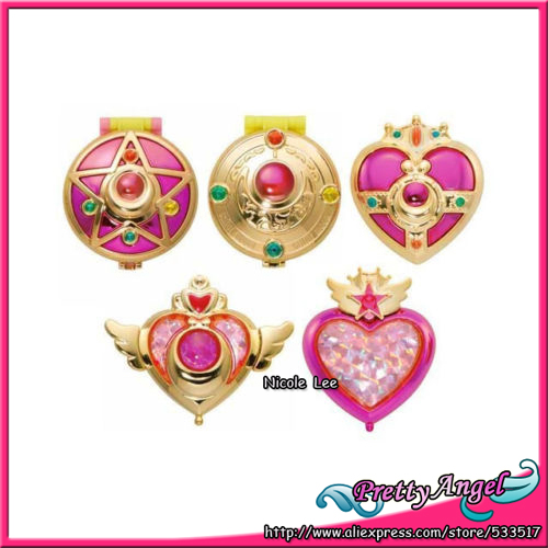 Original Bandai Sailor Moon 20th Anniversary Gashapon Brooch Compact Mirror Set sailor moon capsule communication instrument machine accessory gashapon figure anime toy full set 100