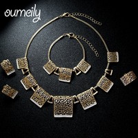 OUMEILY Gold Plated Indian Jewelry Set For Women Fashion Vintage Hollow Earrings Necklace Sets Christmas Gift