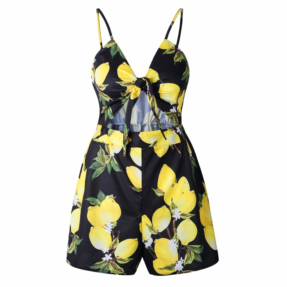 Backless Sexy striped printed halter strap Bowed jumpsuits rompers Women casual jumpsuit summer 2018 Beach overalls bodysuit