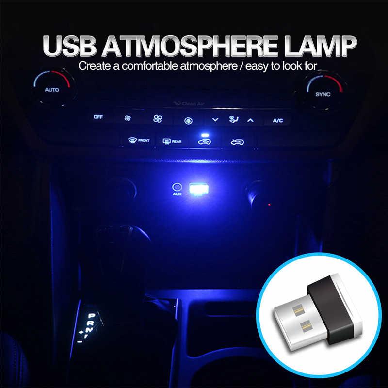 Lampe d'ambiance au néon bleu Mini USB Portable LED lumière décorative intérieure de voiture
