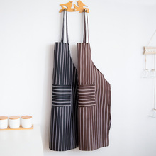 yooap Kitchen apron Korean version cooking waist home female fashion oil-proof stripes anti-fouling vest-type adult work gown