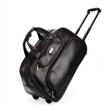 Men Wheeled Travel bags PU travel trolley bags on wheels Boarding luggage bags for men Rolling Bag with wheels Man travel Duffel(China)