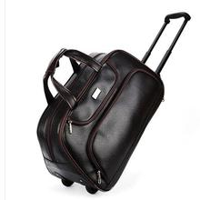 Men Wheeled Travel bags PU travel trolle