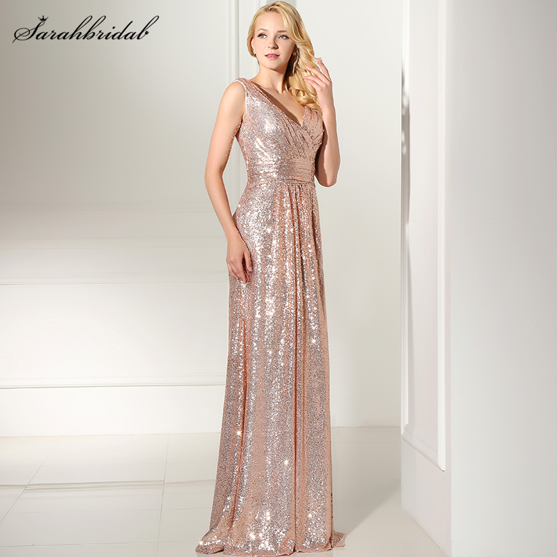 Rose Gold Pleated Sequined Long Formal Prom   Dresses   V-neck   Evening     Dresses   Custom Made Real Photos SD349