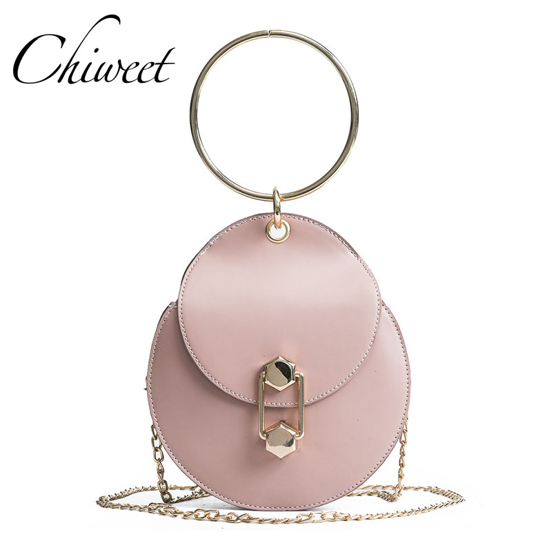 цены 2018 Fashion Round Women Messenger Bag PU Leather Luxury Handbags Designer Metal Ring Tote Brand Small Crossbody Shoulder Bags