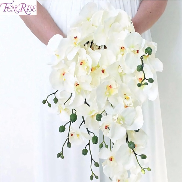 Fengrise Artificial Orchid Flowers Diy Erfly Flower Bouquet Phalaenopsis Bridal Wedding Home Decoration