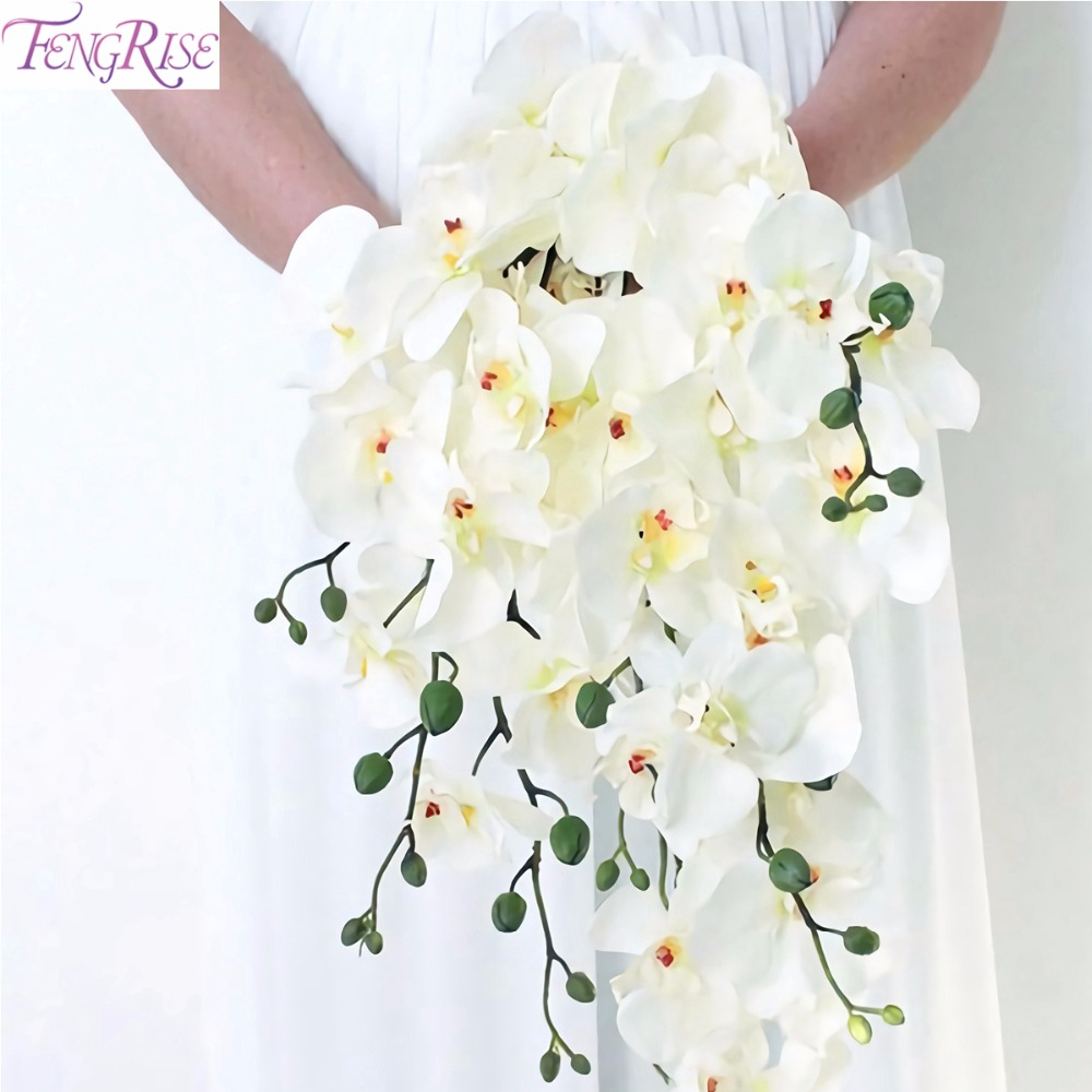FENGRISE Artificial Orchid Flowers White Orchid Phalaenopsis Bride Wedding Bouquet Butterfly Orchid Bridal Shower Decoration