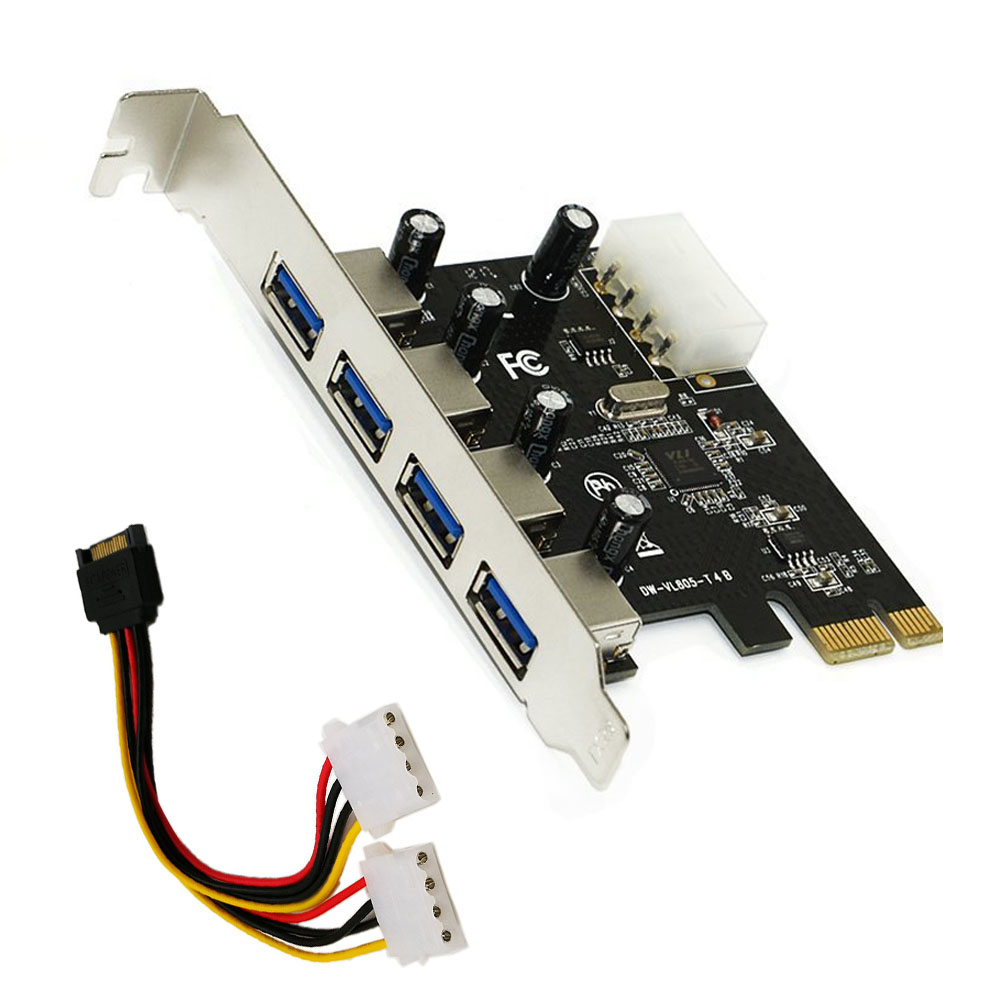 4 Port <font><b>PCIE</b></font> <font><b>To</b></font> USB 3.0 Expansion Card <font><b>PCI</b></font> Express <font><b>Adapter</b></font> <font><b>Pcie</b></font> Card 4-Port USB 3.0 With 15 Pin Sata Power Connector Cable image