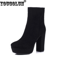 YOUGOLUN Autumn Winter Women Genuine Suede Leather Ankle Boots High Thick Heels 10cm Boots Lady Sexy