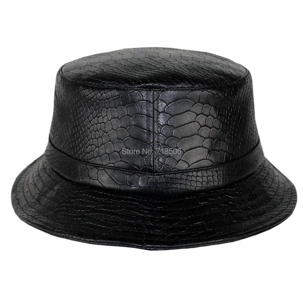 Snakeskin leather Bucket Hat High Quality Hip Hop Fashion leather ... 11c97dcc882
