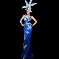 Sparkly Blue Lily Flower Elegant Long Dress Female Singer Catwalk Show Evening Party Dance Performance Costume DJ391