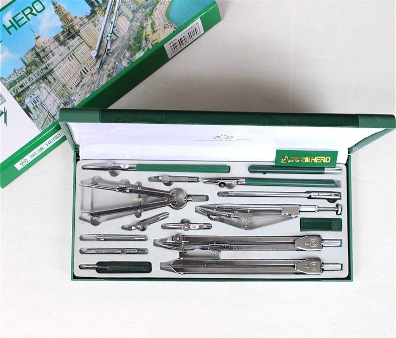 Hero Compasses 15pcs/set H4015 Compass Drawing Tool Engineering Drawing Metal Compasses Set Compas Scolaire Compasso Escolar