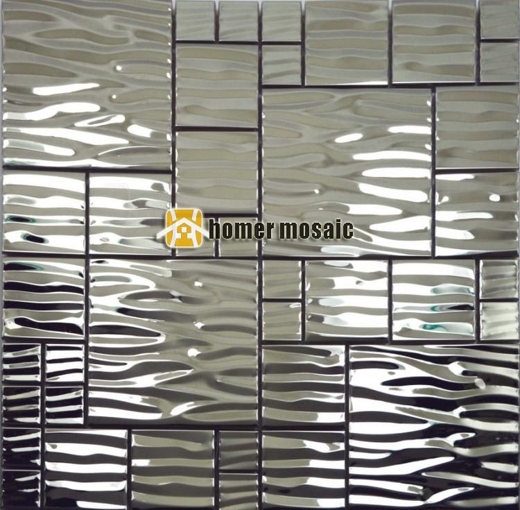 Wave Pattern Stainless Steel Metal Mosaic Metal Mosaic Tile Moder Living Room Kitchen Backsplash Bathroom Shower Metal Tiles