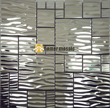 wave pattern stainless steel metal mosaic metal mosaic tile moder living room kitchen backsplash bathroom shower metal tiles