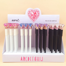48pcs/lot Creative Diamond Head Gel Pen Signature Pen Escolar Papelaria School Office Supply Stationery Gifts 0 5mm clover pendant gel ink pen marker pen school office stationery supply escolar papelaria student