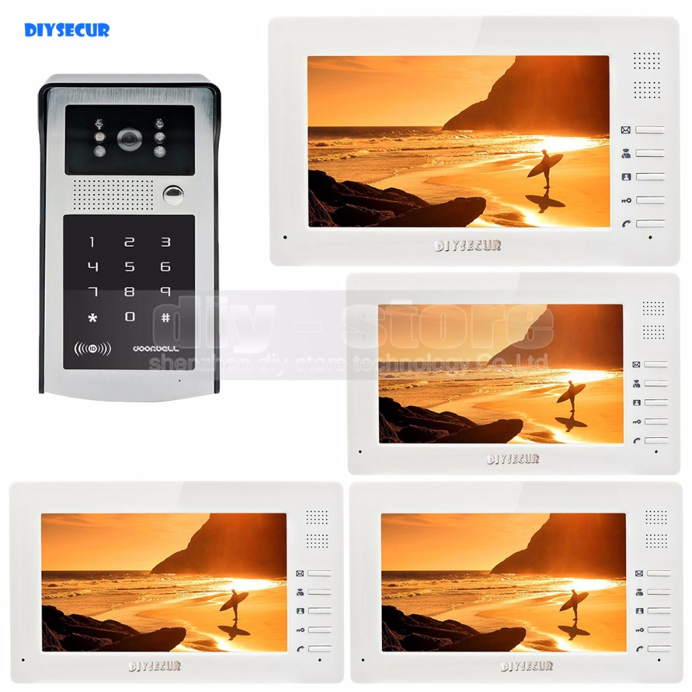 7 inch 1024 x 600 HD TFT LCD Screen Video Door Phone Video Intercom Doorbell 300000 Pixels RFID Reader + Password HD Camera diysecur 1024 x 600 7 inch hd tft lcd monitor video door phone video intercom doorbell 300000 pixels night vision camera rfid