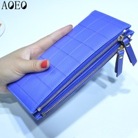 Plaid Girls High Capacity Fashion Women Wallets PU Leather Wallet Female Double Zipper Coin Purse Y