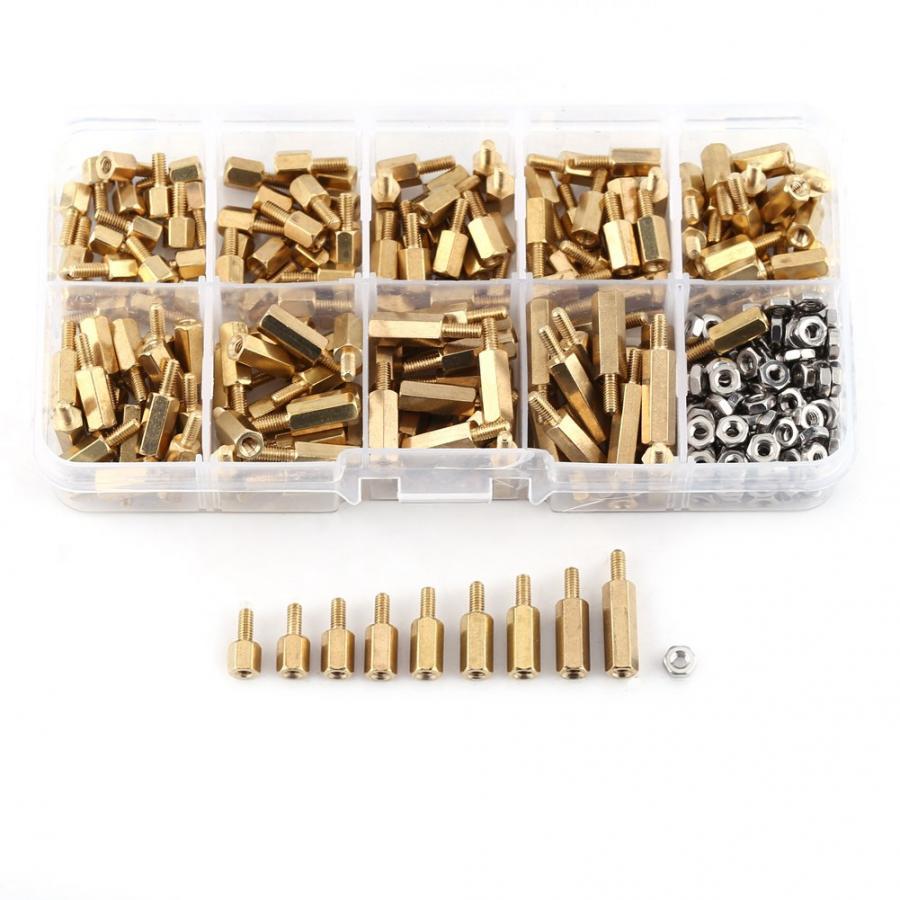 360Pcs/Set Stainless steel M2.5 Brass Male-Female Standoff Hex Nuts Assortment Kit PCB