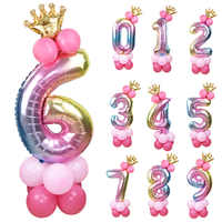 1set 32inch Rainbow Foil Number Balloon with Crown Wedding Anniversary Party Latex Balloon Decor Kids Birthday Air Ball Supply 7