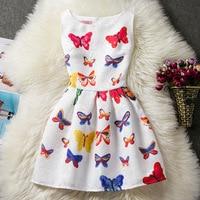 F0085 Groothandel Europa en Amerika Nieuwe Mode Zomer Kleding vlinder Print Jurk Kinderen Mouwloze Jurk