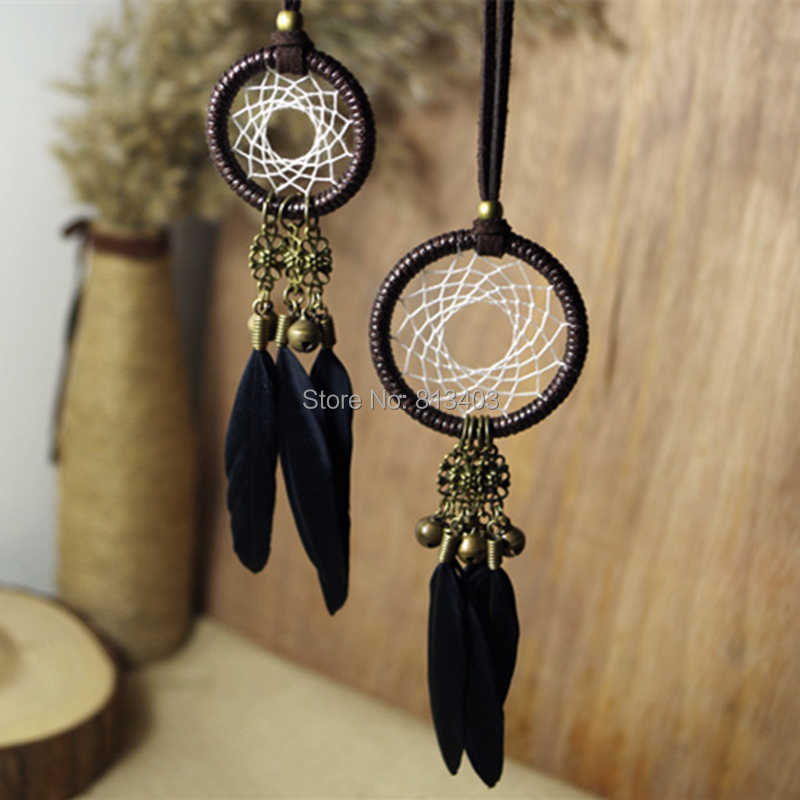 5cm Diameter small dream catcher indian feather dream catchers with jingle bells car home hanging best gift craft