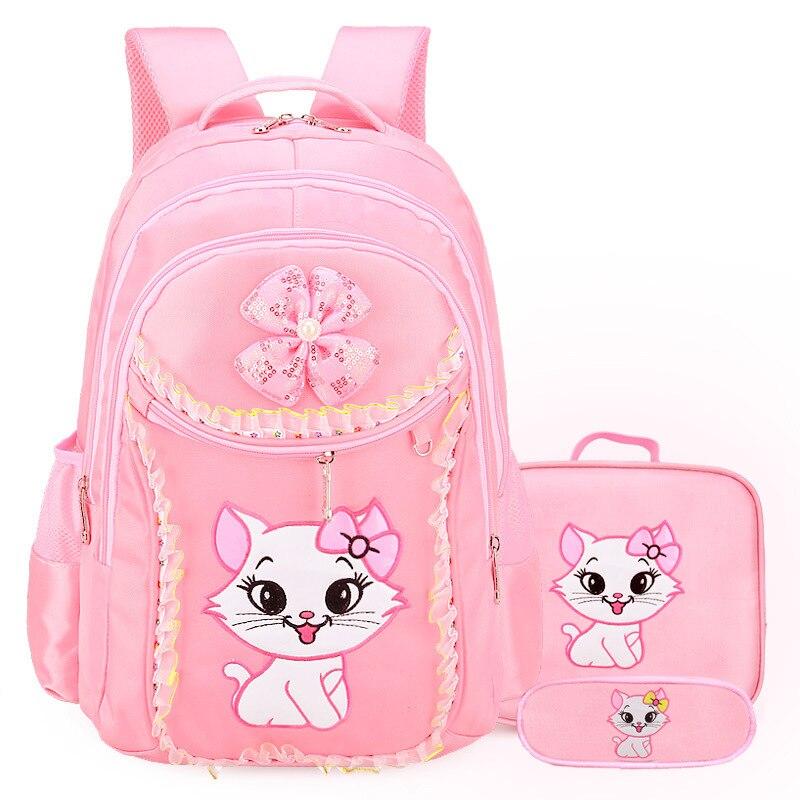 Мультфильм шаблон малыш рюкзак сладкий кошки для девочек школьные сумки для девочек мешок детей школьного рюкзака свет Вес девочек рюкзак