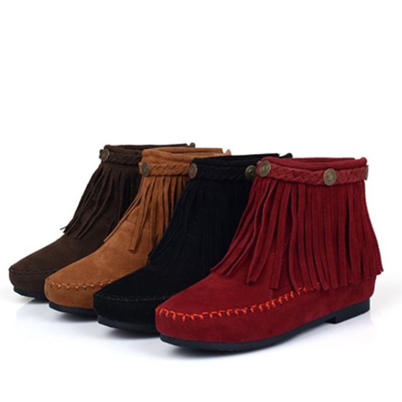free shipping differently wholesale sales US $35.98 10% OFF|US5 9 Suede Leather Like Moccasin Fringe Tassel Ankle  Boots womens wedge shoes-in Ankle Boots from Shoes on AliExpress