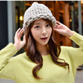 1 Pcs 2015 New South Korea Star Style Thick Woolen Yarn Handmade Knitted Cap Autumn And Winter Women Hats Skullies Beanies