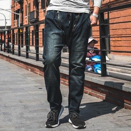 Big Size Zipper Motorcycle Jeans Swag For Men Punk Designer Male Denim Biker Jeans Trousers Low Rise Long Pants Plus Size 44 46 moruancle men s baggy cargo jeans pants loose straight tactical denim trousers for big and tall size 29 46 side zipper pockets