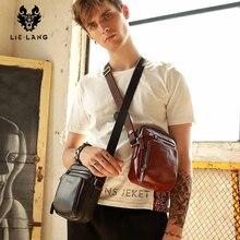 купить LIELANG Crossbody bag Leather Messenger Bag Men Shoulder Brown Bag Handbag Crossbody Vintage Cowhide Travel Male Bag heuptasje дешево