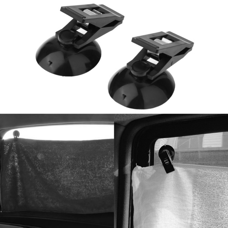 2 Pcs/Lot Car Window Mount Suction Sucker Clips Hook Holders For Sun Shade Curtain Cloth Cards Ticket Black Stuff