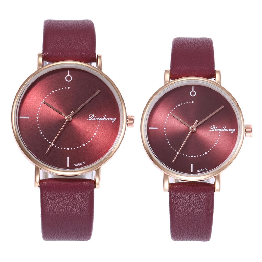 Wholesale Casual Unisex No Numbers Faux Leather Pointer Quartz Wrist Watch Lovers Gift
