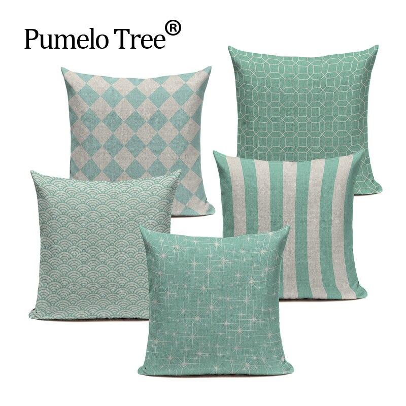 Chevron Light blue Cotton Linen Geometry Decor Throw Pillows Case for Sofa Car Cotton Cushion ...