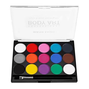 1 set Face Paint Kit for Kids Washable Paints 15 Colors Palette with Brush Safe Facepainting for Sensitive Skin Makeup Modeling