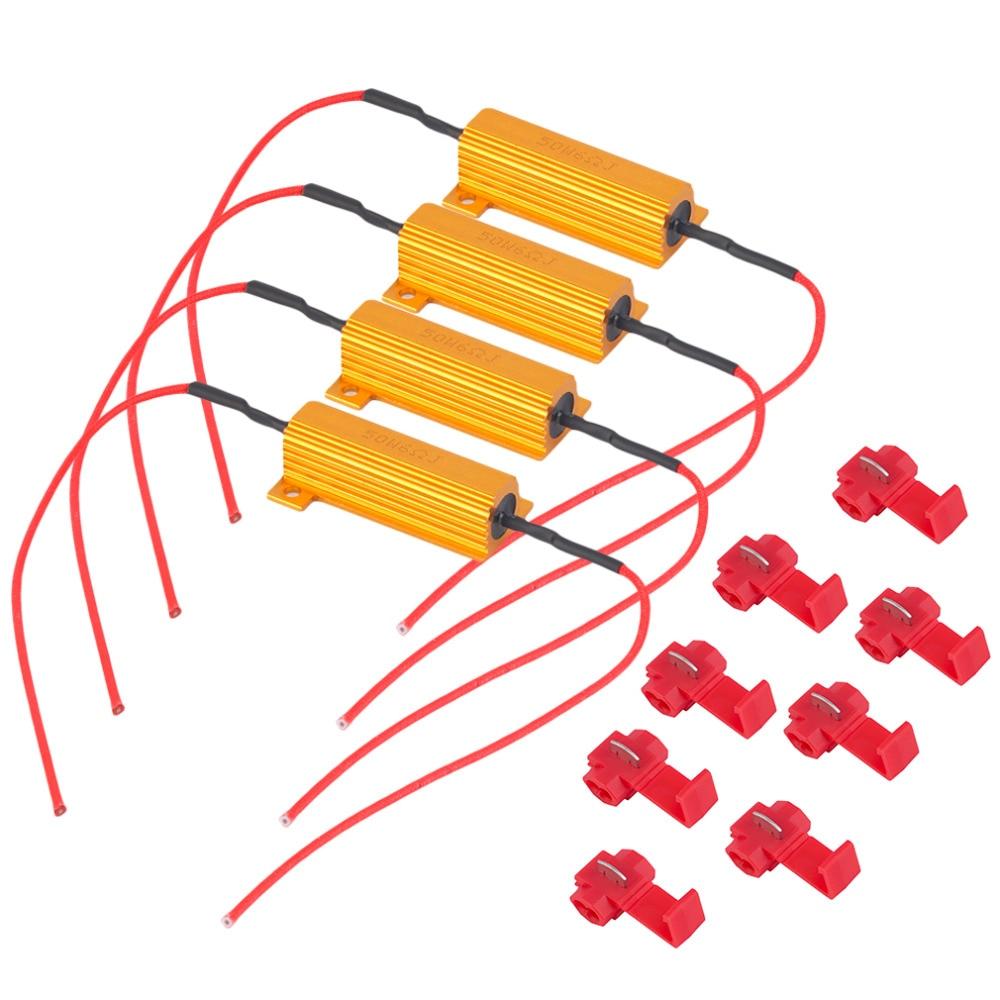 4Pcs 50W 6Ohm Car LED DRL Fog Turn LightLoad Resistor for Fix LED Bulb Fast Hyper Flash Turn Light Hot Selling Free Shipping