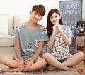 Nuevo 2017 de la moda de dibujos animados oso lindo par de pijamas 100% algodón de los hombres ropa de dormir de verano Coreano pijamas mujeres pijama más el tamaño M-XXXL