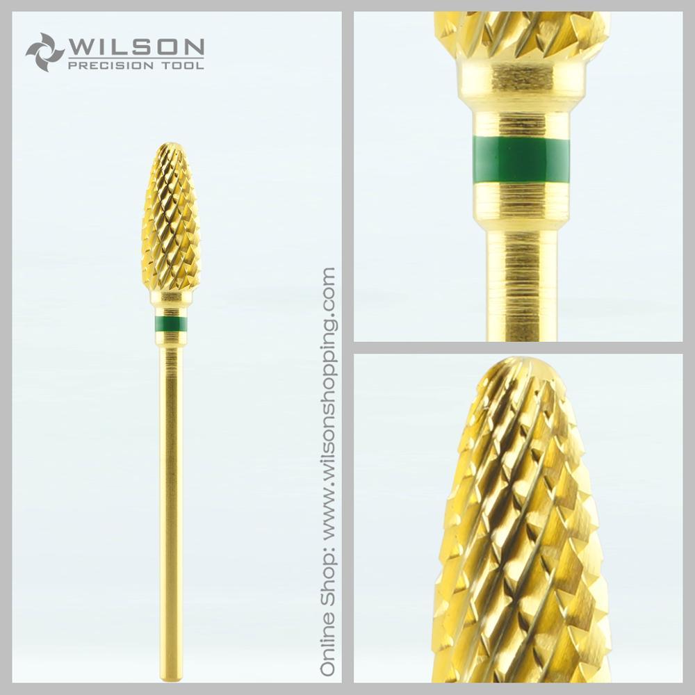 Flame Bits – Gold  – Coarse(1140132)  – WILSON Carbide Nail Drill Bit