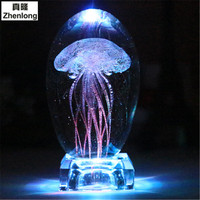 Jellyfish 3D Crystal Ball Pokemon Go Glass Ball Home Decoration Lamp LED Colorful Rotate Base Music Box Art Furnishing Articles